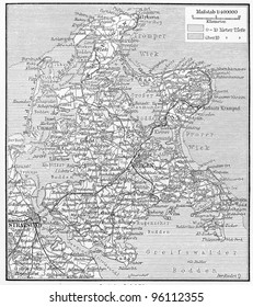 Vintage map of Rügen island from the end of 19th century - Picture from Meyers Lexicon books collection (written in German language ) published in 1909 , Germany.