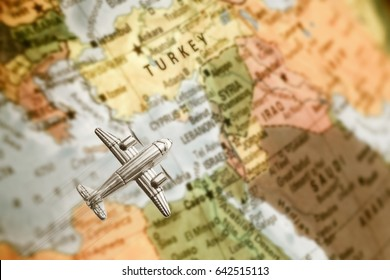 Vintage map of Israel,Turkey,Jordan and Syria . With Airplane. Selective focus  and motion blur on plane