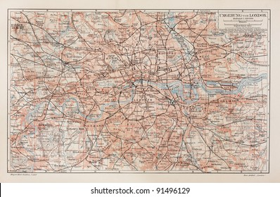 Vintage map of London and surroundings - Picture from Meyers Lexicon books collection (written in German language ) published in 1908.