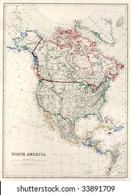 """Vintage map of North America with Alaska as """"Russian Territory"""", printed in 1850."""