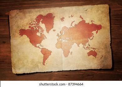 Vintage map on desk