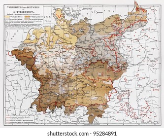 vintage map representing distribution of germans in central europe at the end of 19th century