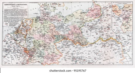 vintage map representing the german garrison of central europe in year 1901 picture from meyers