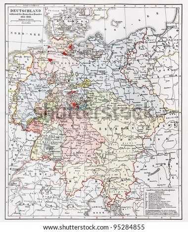 Map Of Germany 1815.Vintage Map Representing Germany During German Stock Photo Edit Now