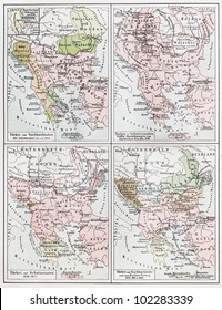 Vintage map representing the Turkish Emire European territories between 1453 and 1885 - Picture from Meyers Lexikon book (written in German language) published in 1908 Leipzig - Germany.