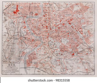 Vintage map of Rome city at the end of 19th century - Picture from Meyers Lexicon books collection (written in German language ) published in 1909, Germany.