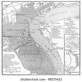 Vintage map of Shanghai at the end of 19th century - Picture from Meyers Lexicon books collection (written in German language) published in 1906, Germany.