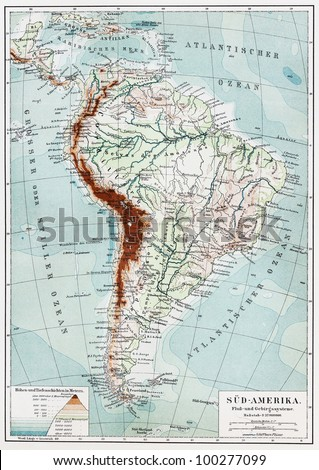 Map Of America Rivers.Vintage Map South America Rivers Mountains Stock Photo Edit Now
