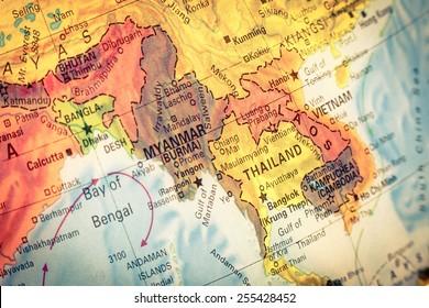 Vintage Map Thailand and Laos .  Close-up macro image of Thai  map . Selective focus on Bangkok