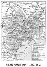 Vintage map of Tokyo at the end of 19th century - Picture from Meyers Lexicon books collection (written in German language) published in 1908, Germany.