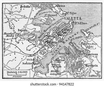 Vintage map of Valletta Capital of Malta at the beginning of 20th century  - Picture from Meyers Lexicon books collection (written in German language ) published in 1908 , Germany.