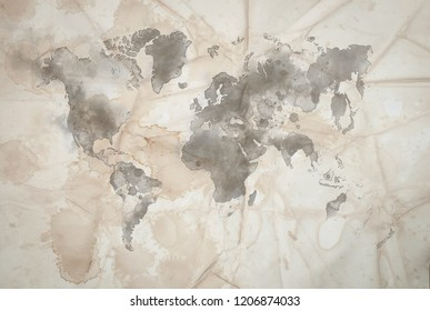Vintage Map of the world on Crumpled paper texture