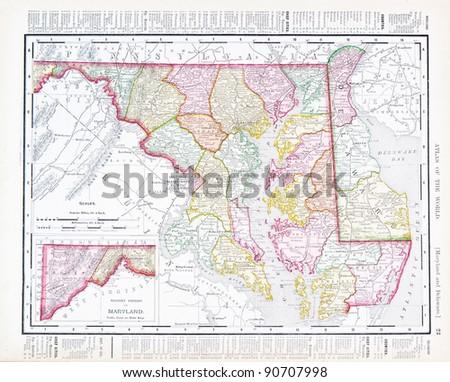 Vintage Maps States Maryland Delaware United Stock Photo (Edit Now ...