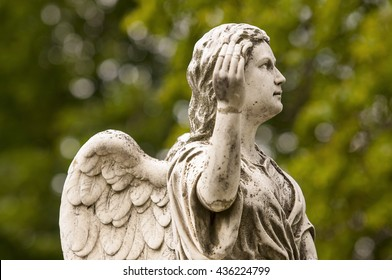 Vintage marble Angel at the old cemetery