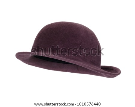 e73668c372b2b Vintage maroon women's cloche hat isolated on white background. Almost  straight side view. Tilted