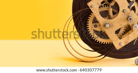 Vintage Mechanic Clockwork Mechanism Spring Bronze Stock Photo (Edit