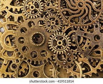 Vintage Mechanical Cogwheel Gears Wheels, closeup