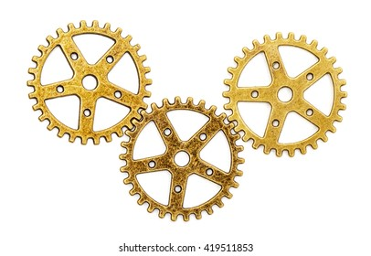 Vintage Mechanical Cogwheel Gears Wheels, isolated on white background