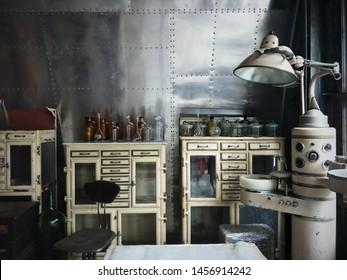 Vintage medical Lab, Decoration Vitage Style.
