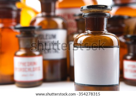 Vintage Medicine Bottle With Blank Label In Pharmacy