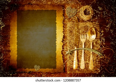 Vintage menu dinner parchment background. Retro cutlerey and empty parchment on old wooden table and Bethlehem star, heart gold and glitter