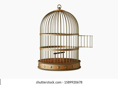 Vintage metal bird cage with door open isolated on white background