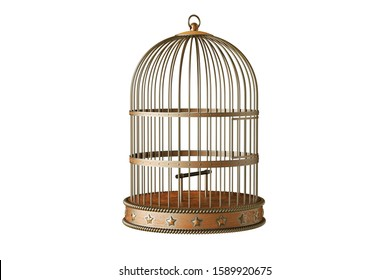 Vintage metal bird cage isolated on white background