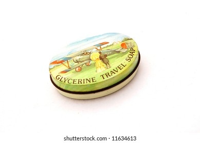 A vintage metal colorful box of glycerin travel soap isolated on white background