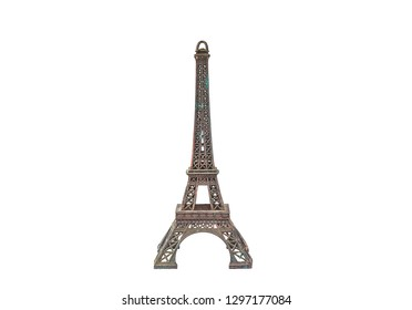 Vintage metal Eiffel Tower statue isolated on a white background