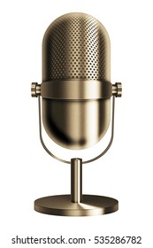 Vintage metal golden microphone isolated on white background. 3D illustration