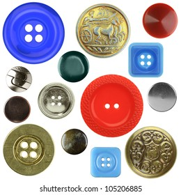 Vintage metal and plastic sewing buttons, different colors, isolated
