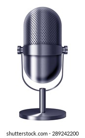 Vintage metal silver blue microphone isolated on white background. Highly detailed illustration.