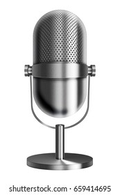 Vintage metal silver microphone isolated on white background. 3D illustration.