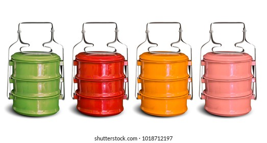 Vintage metal tiffin carrier in variation color isolated on white background with clipping path