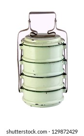Vintage Metal Tiffin ,Food Carrier isolated on white