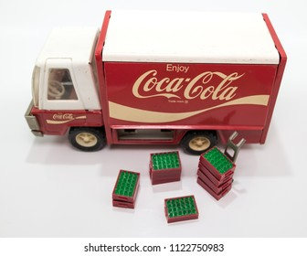 Vintage Metal Toy, isolated on white.  It is a Coca Cola delivery truck from the US manufacturer, Buddy L.  It was bought in South Africa as a toy for the photographer, about 45 years ago.