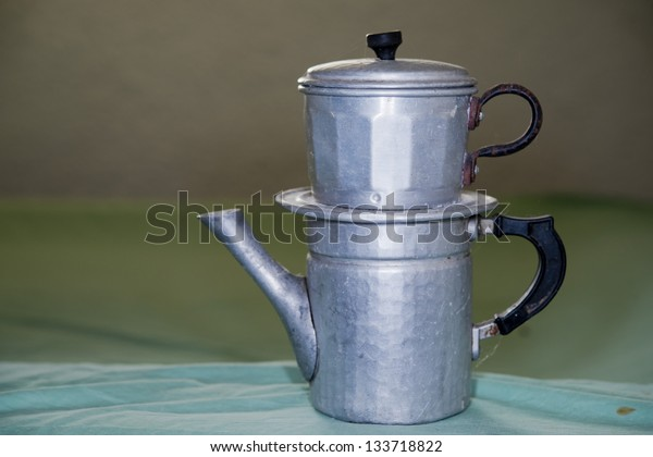 Vintage metallic coffee maker from naples italy