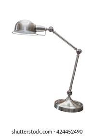 Vintage metallic desk lamp isolated on white background
