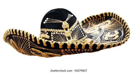 Vintage Mexican Sombrero isolated on white. Clipping path included.