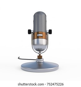 Vintage Microphone isolated on a White Studio Background    3D Illustration