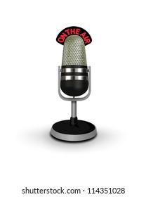 vintage microphone on air