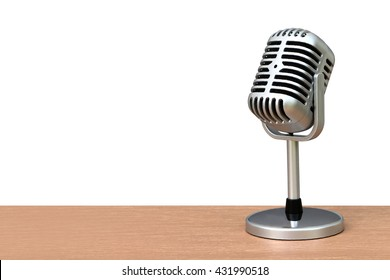 vintage microphone on desk ,isolate white background