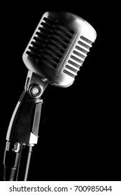 vintage microphone over black