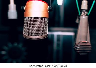 Vintage microphones in studio . Recording vocal devices