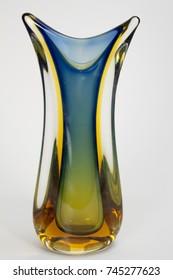Vintage Mid Century Modern tricolor art glass vase.