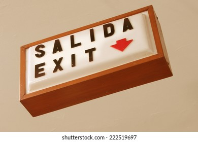 Vintage Mid-Century Bilingual Salida Exit Sign Mexico in Spanish and English