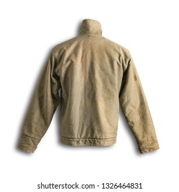 Vintage Military Army Deck Jacket Back Shadow on White Background with Path