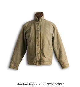 Vintage Military Army Deck Jacket Front Shadow on White Background with Path