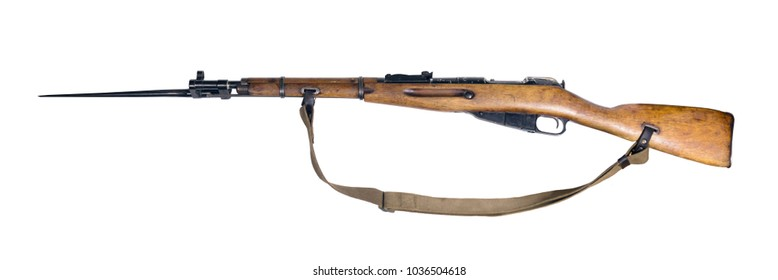 vintage military rifle with bayonet in its open position, isolated