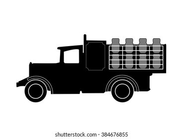 Vintage Milk Delivery Truck Silhouette On White